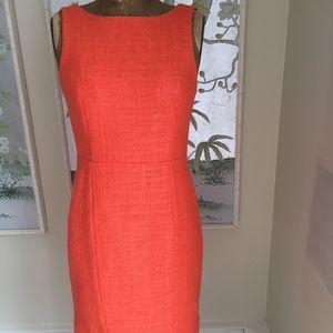 Coral Tweed Sheath Dress